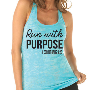 Run With Purpose Tank Top. 1 Corinthians 9:26. Workout Tank. Running Shirt. Running Tank Top. Christian Shirt by WorkItWear