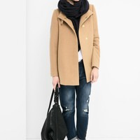 Wool-blend straight-cut coat