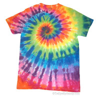Adult Medium Bright Rainbow Tie Dye Spiral Shirt by TieDyeBySandy