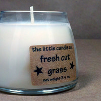 Soy Jar Candle Fresh Cut Grass Scented Dye Free by littlecandles