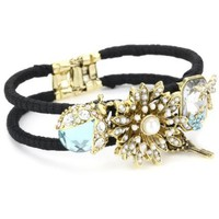 "Betsey Johnson ""Iconic Enchanted Garden"" Flower and Dragonfly Bangle Bracelet - designer shoes, handbags, jewelry, watches, and fashion accessories 