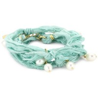 Ettika Turquoise-Color Vintage Ribbon Wrap Bracelet with Pearl Pendants