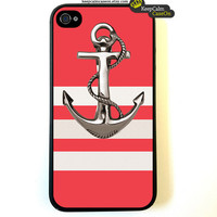 Iphone 4 Case Anchor On Stripes Pattern iphone 4 by KeepCalmCaseOn
