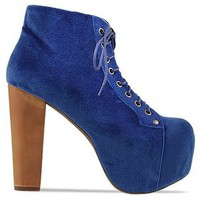 Jeffrey Campbell Lita in Royal Blue Velvet at Solestruck.com