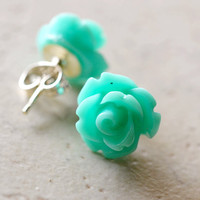 HALF OFF Mint Green Earrings Roses Aqua Flowers by waterwaif