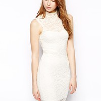 Pearl Lace Dress With High Neck