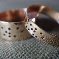 $84.00 LOVE in Braille Couple Rings in Brass by Anilani by Anilani