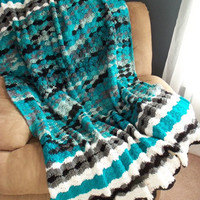 Teal White Black and Gray Crochet Afghan by SnugableTouches