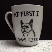 $12.06 French Bulldog ceramic hand painted mug by Sketchhole on Etsy
