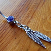 Belly Button Ring  Feathers Belly Button Ring by ChelseaJewels