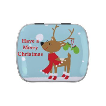 Cute Reindeer Jelly Belly Candy Tin