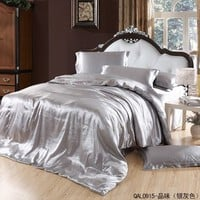 Great Taste Silver Gray Duvet Cover Set Silk Bedding Luxury Bedding, Queen Size