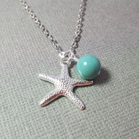 Starfish Necklace Beach Jewelry Jade Pearl Necklace Bridesmaid Gift Mint Necklace Friendship Gift Birthday Gift