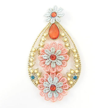 Large Boho Pendant Drop, Lace Jewelry Rhinestone Earring Finding, Pastel Flower Jewelry Component