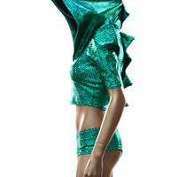 2PC Green Dragon Spiked Crop Hoodie & Ultra Cheeky Booty Shorts Set