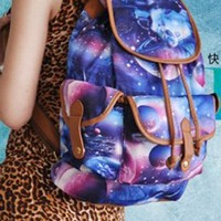 Women Fashion Galaxy Print Charm Color Backpack School Rucksack Bag