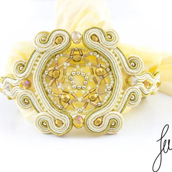 Golden, unique, handcrafted soutache bracelet, golden, pure silk, jewelry, mandala