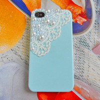 Blue hard Case made of pearl for apple by braceletbanglecase