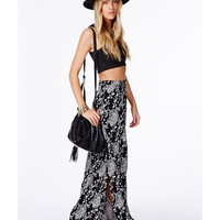 Missguided - Samaria Split Maxi Skirt In Floral Print