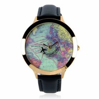 Women's World Map Watch with Vintage World Map Faux Leather Wrist Watches Black