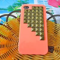 iphone 4 4S Hard Case with bronze pyramid by braceletbanglecase