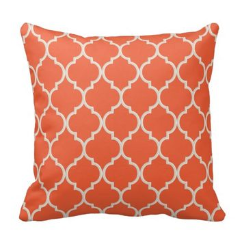 Celosia Orange and White Lattice Pillow