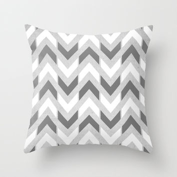 Grey & White Herringbone Chevron Throw Pillow by Tangerine-Tane