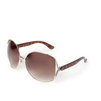 FOREVER 21 Oversized Round Sunglasses Gold/Brown One
