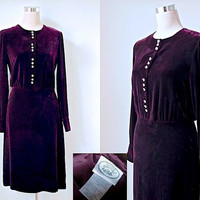 Vintage Laura Ashley Purple Velvet Dress / Chic Cocktail Dress With Faux Crystal Buttons