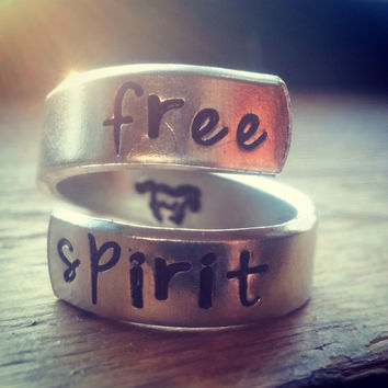 free spirit ring horse handstamped on the inside twist aluminum ring