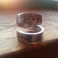 Gypsy soul  handstamped on the inside twist aluminum ring