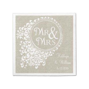 Mr & Mrs Vintage Linen Personalized Napkins
