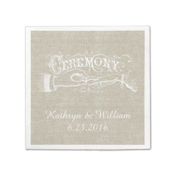 Vintage Wedding Linen Personalized Napkins