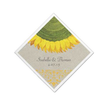 Italian Sunflower Linen Wedding Napkin