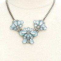 Faceted Stone Flower Statement Necklace