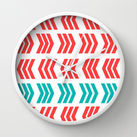 Aqua Pop and Coral Zig Zag Wall Clock by Lisa Argyropoulos | Society6