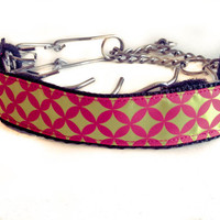 Custom Dog Collar Cover / Prong Collar Cover Pink Yellow Pattern
