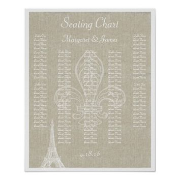 Paris Eiffel Vintage Linen Seating Chart