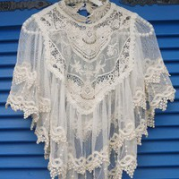 Retro Crochet Lace Cape - Retro, Indie and Unique Fashion