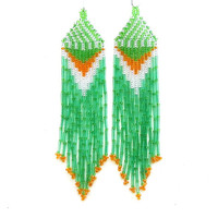 Native American Beaded Earrings Inspired. Silver Orange Green Earrings. Dangle  Earrings.Long Earrings.  Beadwork.
