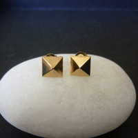 Gold Pyramid Stud Earrings | Luulla