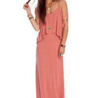 Shed a Tier Maxi Dress in Coral 