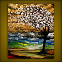 palette knife tree painting metallic gold bronze 11 x by mattsart
