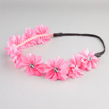 Full Tilt Chiffon Flower Headband Hot Pink One Size For Women 21998735101