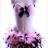 3 piece Pink and Black Boa Feather Bra and by GlitterBombShell