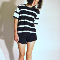 80s designer Bob Mackie GRUNGE black and white striped relaxed fit Tshirt