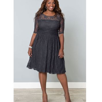 Plus Size Twilight Grey Luna Lace Dress - Plus Size - Clothing