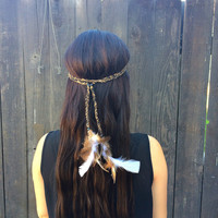 Braided Feather Headband - Festival Headband - Hippie Headband - Hair Accessories - Bohemian - Tribal