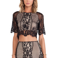 For Love & Lemons Wild Flower Crop Top in Black & Nude