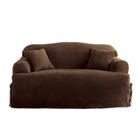 Soft Suede T-Cushion Sofa Slip Cover